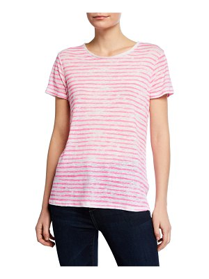 Majestic Paris for Neiman Marcus Striped Crewneck Short-Sleeve Linen Tee