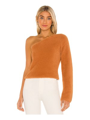 MAJORELLE fuzzy one shoulder sweater