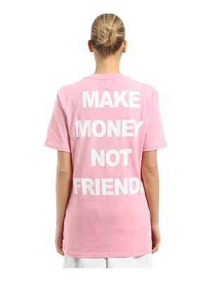 MAKE MONEY NOT FRIENDS Logo printed cotton jersey t-shirt