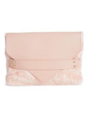 MALI AND LILI kimmy faux fur & vegan leather envelope clutch