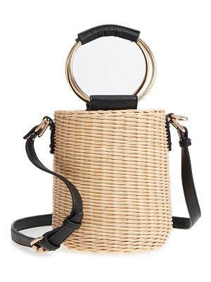 MALIBU SKYE Metal Handle Straw Bucket Bag