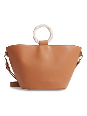 MALIBU SKYE ring handle faux leather tote