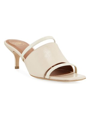 MALONE SOULIERS Banded Leather Kitten-Heel Slide Sandals