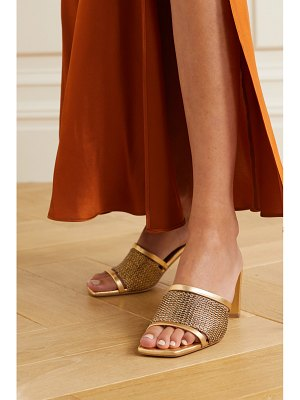 MALONE SOULIERS demi 70 leather-trimmed lurex mules