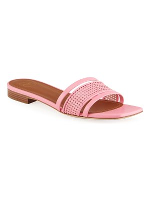 MALONE SOULIERS Demi Perforated Leather Flat Slide Sandals