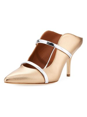 MALONE SOULIERS Maureen 75mm Metallic Leather Two-Strap Mules