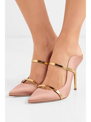 MALONE SOULIERS maureen 100 metallic leather-trimmed satin mules
