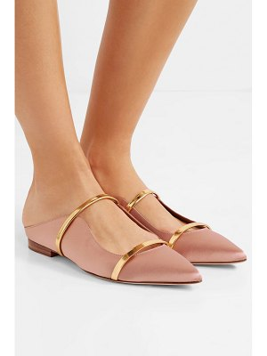 MALONE SOULIERS maureen metallic leather-trimmed satin point-toe flats