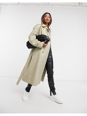 MANGO belted trench coat in beige-tan