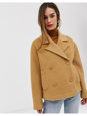MANGO boucle double breasted short coat in brown