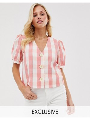 MANGO button front blouse in gingham print