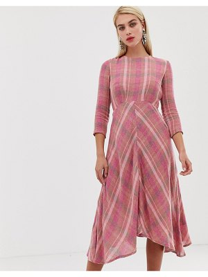 MANGO check midi dress in pink