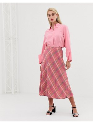 MANGO check midi skirt in pink