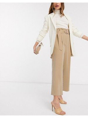 MANGO cropped wide leg belted pants in camel-tan