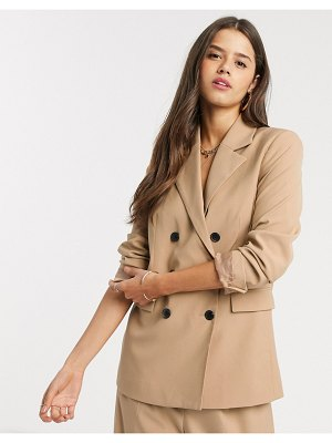 MANGO double breasted tailored blazer two-piece in camel-tan