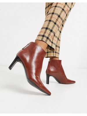 MANGO faux leather heeled boots in tan-brown