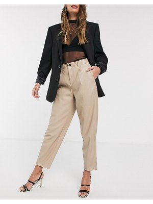 MANGO faux leather slouchy pants in beige