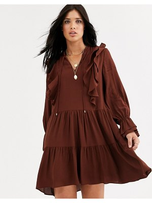 MANGO frill detail mini smock dress in rust