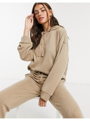 MANGO knitted hoodie co-ord in camel-beige