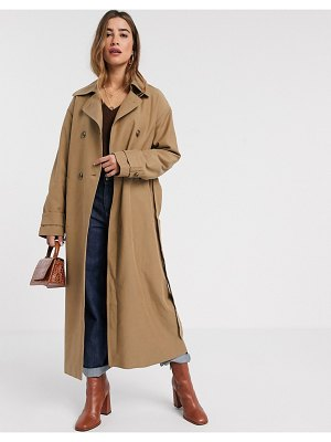 MANGO maxi trench coat in tan