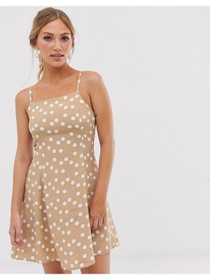MANGO polka dot cami dress with matching scrunchie in beige