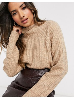 MANGO ribbed high neck sweater in beige-brown
