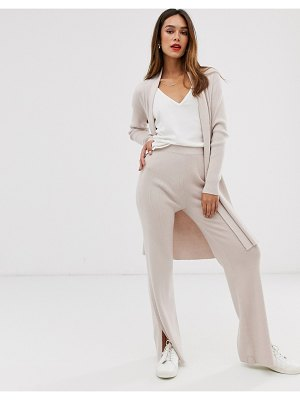 MANGO ribbed pants two-piece in beige