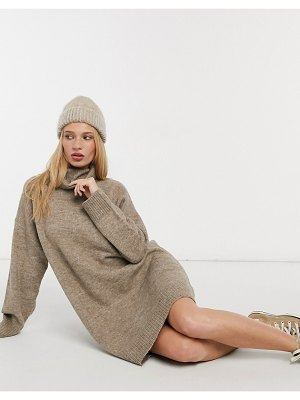 MANGO rollneck knitted sweater dress in brown