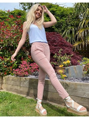MANGO skinny stretch pants in pale pink