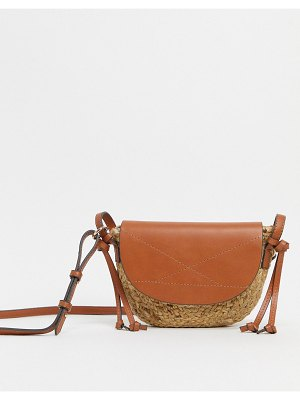 MANGO straw cross body bag with faux leather panel in tan