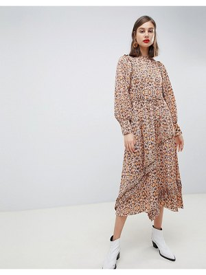 MANGO synch waist maxi dress in snake print