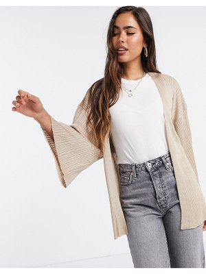 MANGO tie waist ribbed cardigan in light beige