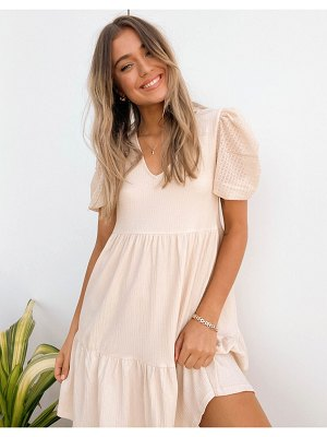 MANGO tiered smock dress with contrast sleeve in beige