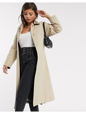 MANGO trench coat with back detail in camel-beige