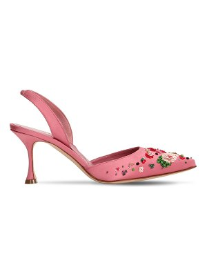 Manolo Blahnik 70mm karola embellished satin pumps