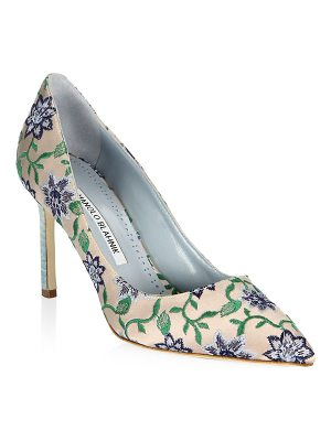 MANOLO BLAHNIK Bb 90 Point Toe Floral Pumps