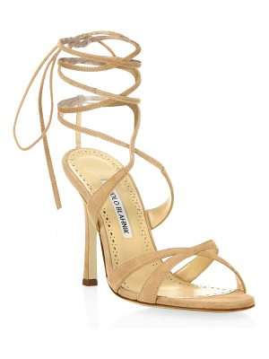 Manolo Blahnik crisscross suede lace-up sandals