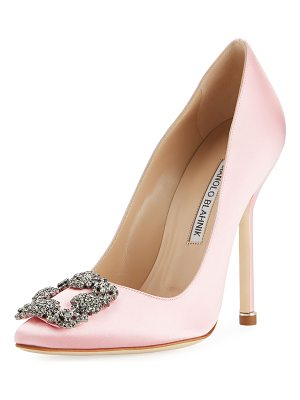 MANOLO BLAHNIK Hangisi 115mm Satin Crystal-Toe Pump