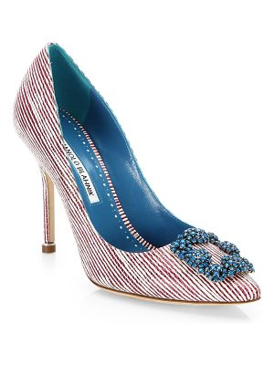 Manolo Blahnik hangisi striped brooch pumps