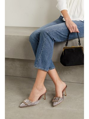 Manolo Blahnik maysale buckled metallic leather-trimmed woven mules