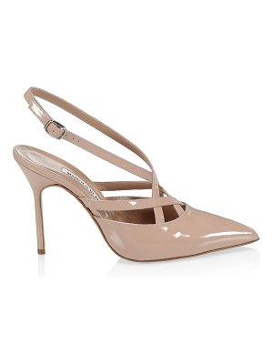 Manolo Blahnik sagunto patent leather slingback pumps
