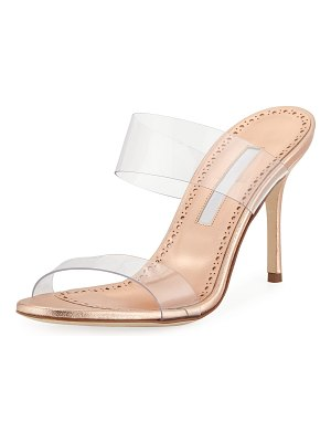 Manolo Blahnik Scolto Leather and PVC Slide Sandals
