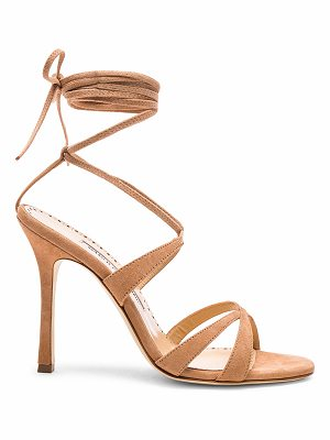 MANOLO BLAHNIK Suede Criss Sandals