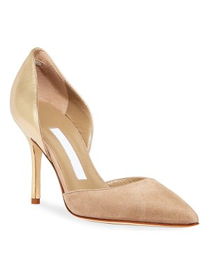 Manolo Blahnik Tayler Leather and Suede Pumps