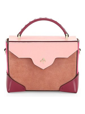 Manu Atelier micro-bold colorblock leather & suede top handle bag
