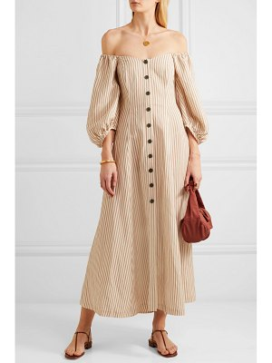 Mara Hoffman net sustain mika off-the-shoulder tencel and linen-blend midi dress