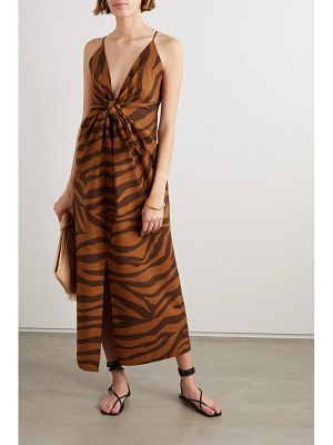 Mara Hoffman net sustain lolita knotted tiger-print organic cotton maxi dress