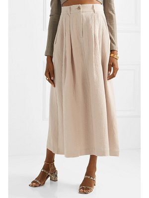 Mara Hoffman tulay pleated organic cotton and linen-blend midi skirt