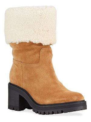 MARC FISHER LTD Willoesu Suede Ankle Boots w/ Shearling Collar