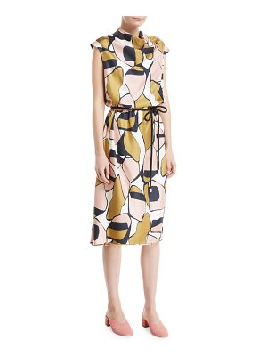 Marc Jacobs Cap-Sleeve Cowl-Neck Printed Silk Dress